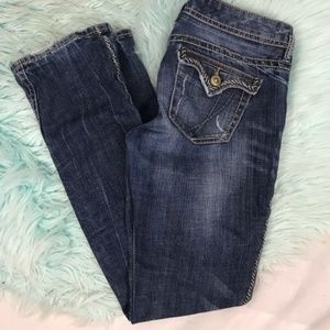 Express Low Rise Distressed Boot Cut Jeans